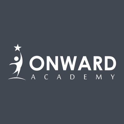ONWARD ACADEMY written in white   with a a white child touching stars